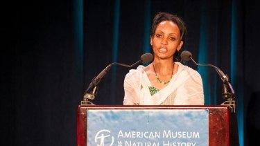 "Honoured ... Serkalem Fasil accepts the 2012 PEN American's ""Freedom to Write Award"" for her husband Eskinder Nega."