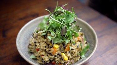 Health kick: The vegetable risotto at Vegie Bar.