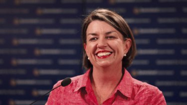 Premier of Queensland Anna Bligh at a press conference at the Executive building after her election win last night.