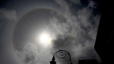 An underexposed picture of the sun's halo in Sydney today.
