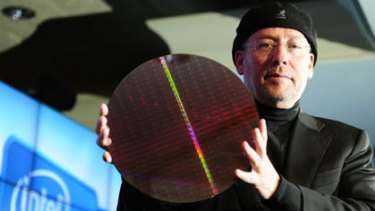 Mooly Eden, Intel vice president for communications shows Intel's new chip