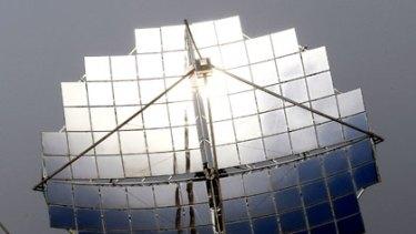 A solar dish at the Silex solar test facility in Bridgewater, near Bendigo.