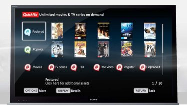 The Quickflix services running on a Sony TV.