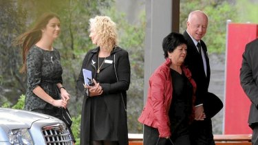 Edith and George McKeon (right) arrive at the funeral for their daughter, Jill Meagher.