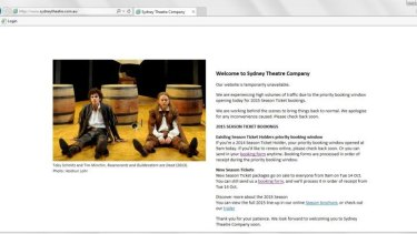 A holding page appeared on the Sydney Theatre Company's website.