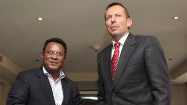 Meet and greet... Tony Abbott with the President of Nauru, Marcus Stephen.