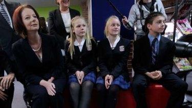 Julia Gillard addressed students at McCarthy Catholic College in Emu Plains in western Sydney.