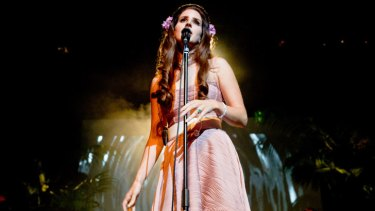 Looking like an extra from Mad Men ... Lana Del Rey at the Enmore Theatre