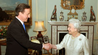 The Queen congratulates Mr Cameron after inviting him to form government.