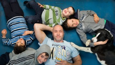 Melbourne stay at home dad Clint Greagen and his boys Archie, 10, Lewis, 8, Tyson, 6, and  Maki.