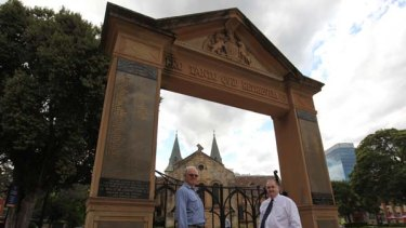 We will remember them ... memorial spotters David Roden and Peter Levarre-Waters outside Parramatta's Archway, the war memorial at Gordon train station.