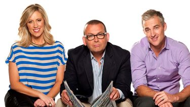 <i>Breakfast</i> was axed in November 2012 due to low ratings: Hosts Kathryn Robinson, Paul Henry and Andrew Rochford (right).