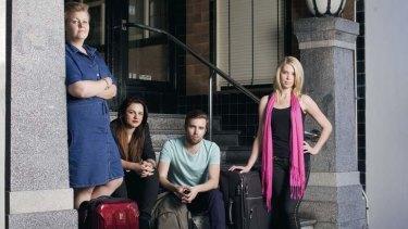 Long wait: (From left) Miranda Pade, Diana Trauer, Riley Toms and Gabriella Croxson.