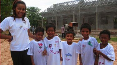 On a mission: Koky Saly is working to build schools for the children (above) of Cambodia from where he fled to Australia as a child.