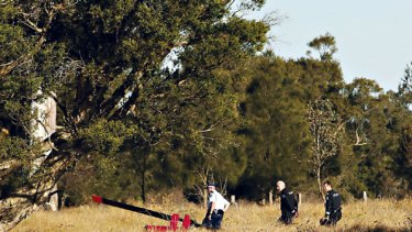 Crash site ... the scene at Windsor Downs about four kilometres from Richmond RAAF Aerodome.