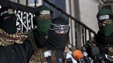 Out of hiding … members of the al-Nasser Salah al-Din Brigades.