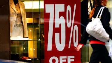 Clothing stores have been forced to offer deep discounts to entice wary consumers to spend.