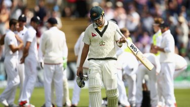 Trapped in front yet again: Shane Watson leaves the field after being dismissed by Mark Wood in the second innings of the first Test in Cardiff.