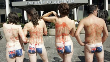 Demonstrators with the Australian flag painted on their buttocks and fake blood on other parts of their bodies stand in front of the Australian embassy in Washington during a small rally by People for the Ethical Treatment of Animals (PETA).