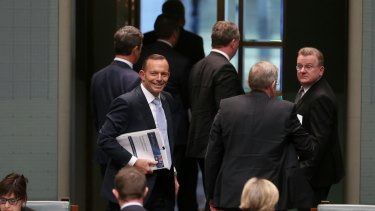 Prime Minister Tony Abbott departs at the end of question time on Thursday.