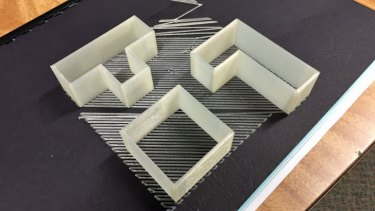 A second attempt to print Tetris cookie cutters was more successful, using XYZware's raft option to add a base to the print which easily peels away.