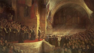Tom Robert's painting of the Parliament's opening.