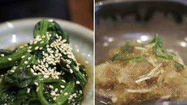 Sesame sprinkled ohitashi and seared tuna salad.