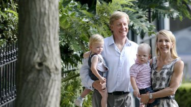 Ready … Jane Flemming and Ian Purchas with twins Samuel and James on the hunt for property in Woollahra.