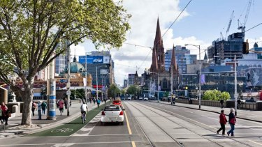 An artist's impression of the proposed bike lane.