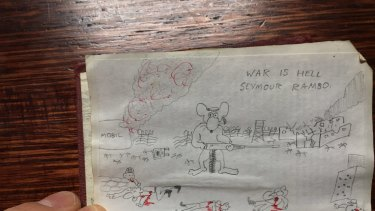 The last drawing of The Six Million Dollar Mouse, a cartoon Julian Knight drew while a pupil at Melbourne High in 1985.