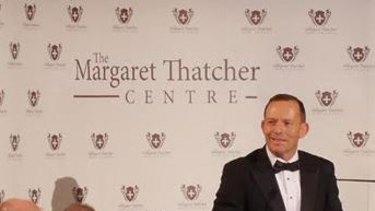 Tony Abbott delivering his speech.