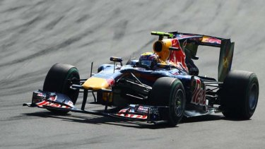 Red Bull's Mark Webber in action at the Autodromo Nazionale circuit.