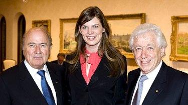 FIFA president Sepp Blatter (left), Sports Minister Kate Ellis and Football Federation Australia chairman Frank Lowy.
