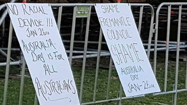 Protest signs were erected by Reclaim Australia members.