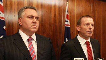 Under pressure ... Opposition leader Tony Abbott and Shadow Treasurer Joe Hockey.