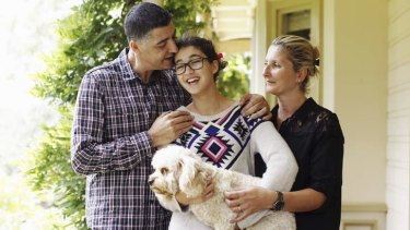 Safe: Wally Muhieddine with his wife, Suzanne, are reunited with daughter Krystal.