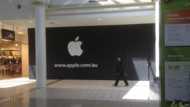 Sign of the times. A sign has gone up at the location of a new Apple store in the Canberra Centre.