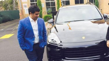 Education salesman Gagandeep Sachdeva and his new Porsche. He claims he is owed more than $43 million from ACN.