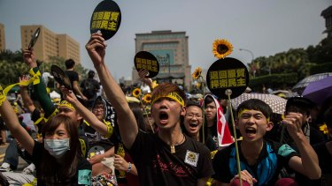 Student opposition: Protests against the cross-strait service trade agreement in March.