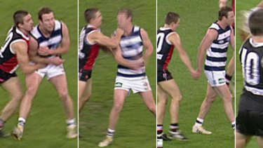 Screengrabs of the clashes between Steven Baker and Steve Johnson during the St Kilda v Geelong clash last Friday night.