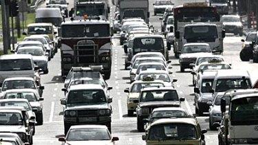 A traffic jam on Hoddle Street.