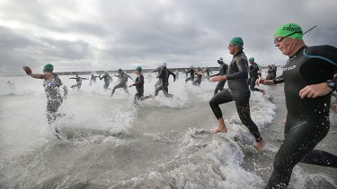 Massed triathlon starts can generate heart attack-inducing stress in competitors.