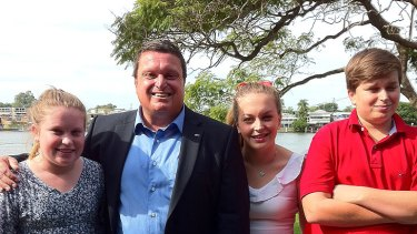 Labor candidate Ray Smith and his family out on the campaign trail in Brisbane.