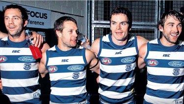 Oldies but goodies: Geelong veterans Joel Corey, David Wojcinski, Matthew Scarlett and Corey Enright.