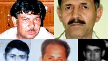 (Clockwise from top) Killed...Muzafar Ali Safarali, Mohammad Ali Ayubi, Baquer Husani, Mohammed Amini Zamen and Awaz Nader.