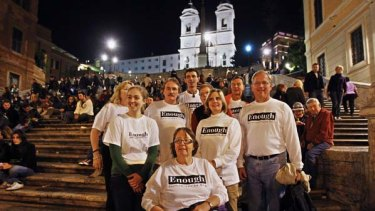 Members of Survivors Voice Inc. pose at Piazza Di Spagna (Spanish Steps) in downtown Rome.