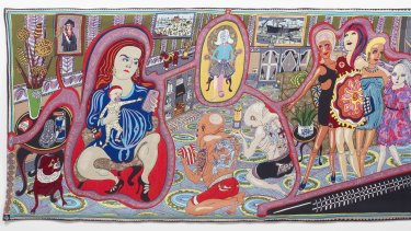 Detail from Grayson Perry's <i>The Adoration of the Cage Fighters</i>, from the series, <i>The Vanity of Small Differences</i>.
