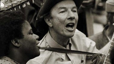 Pete Seeger and Bernice Johnson Reagon at the Poor People's March, Washington in this 1968 photo.
