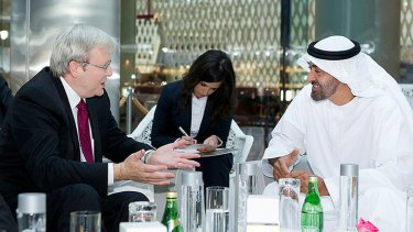 Foreign Minister Kevin Rudd with Crown Prince Sheikh Mohamed bin Zayed al Nahyan in Abu Dhabi in November.