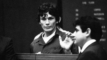 Terrorised California: Richard Ramirez in court in 1985.